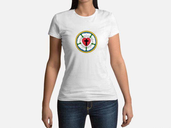 Damen Shirt Motiv Lutherrose weiss kurze Ärmel Rundhalsausschnitt